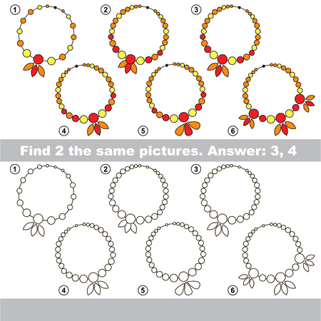 similar: The design difference.  Vector visual game for children. Task and answer. Find two similar Necklaces