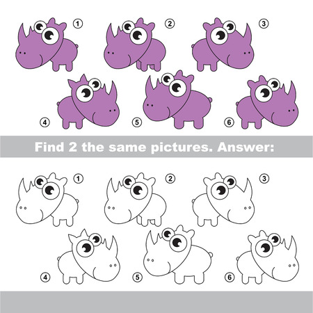 similar: The design difference.  Vector visual game for children. Task and answer. Find two similar Rhinoceratoses Illustration