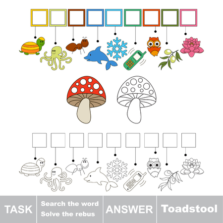 a toadstool: Vector rebus game for children. Find solution and write the hidden word Toadstool