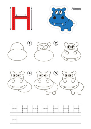 tutorial: Zoo alphabet complete. Learn handwriting. Drawing tutorial for letter H
