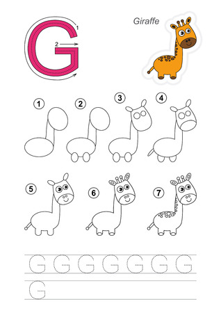 g giraffe: Zoo alphabet complete. Learn handwriting. Drawing tutorial for letter G