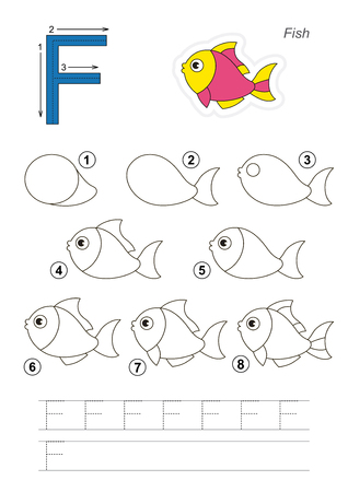 tutorial: Zoo alphabet complete. Learn handwriting. Drawing tutorial for letter F