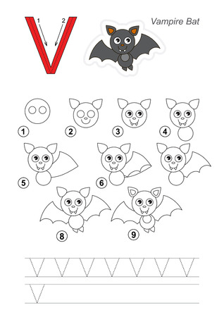 tutorial: Zoo alphabet complete. Learn handwriting. Drawing tutorial for letter V