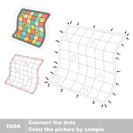 joining the dots: Quilt in vector to be traced by numbers. Vector visual game for children.