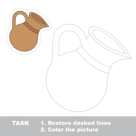 dashed: Clay jug in vector to be traced. Restore dashed line and color the picture. Trace game for children.