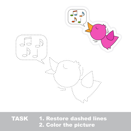Little nightingale in vector to be traced. Restore dashed line and color the picture. Trace game for children.