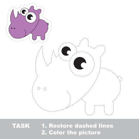 dashed: Rhino in vector to be traced. Restore dashed line and color the picture. Trace game for children. Illustration