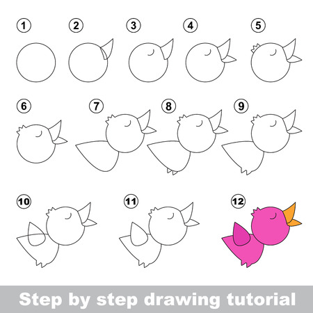 ruise�or: Drawing tutorial for children. How to draw the funny Nightingale
