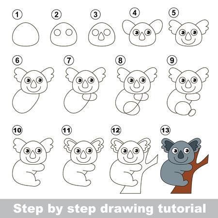 Drawing tutorial for children. How to draw the Cute koala