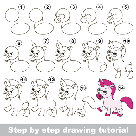 Drawing tutorial for children. How to draw the funny Unicorn