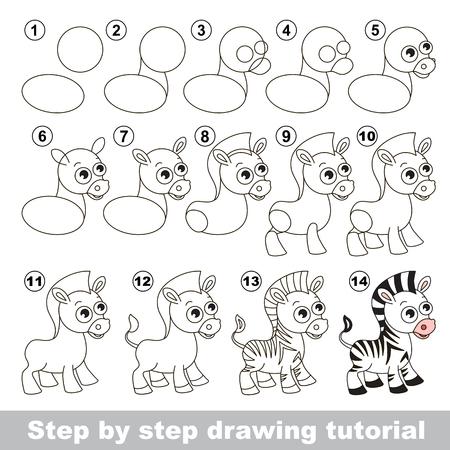 Dessin tutoriel pour les enfants. Comment dessiner le zèbre mignon