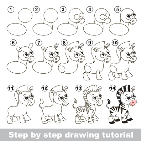 Drawing tutorial for children. How to draw the Cute zebra