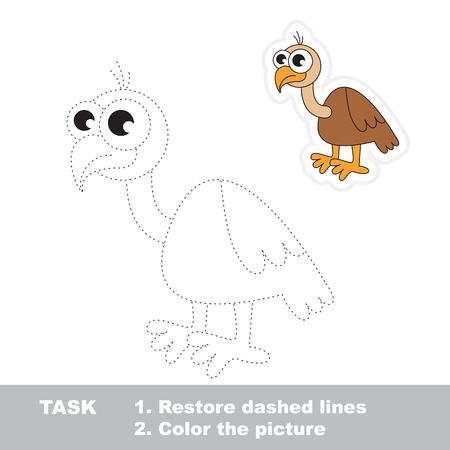restore: Vulture in vector to be traced. Restore dashed line and color the picture. Trace game for children. Illustration