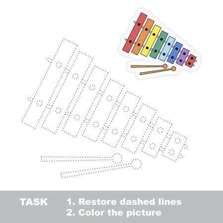 dashed: Xylophone in vector to be traced. Restore dashed line and color the picture. Trace game for children.