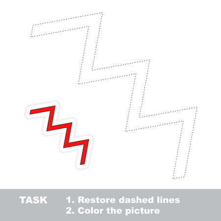 dashed line: Zigzag in vector to be traced. Restore dashed line and color the picture. Trace game for children.