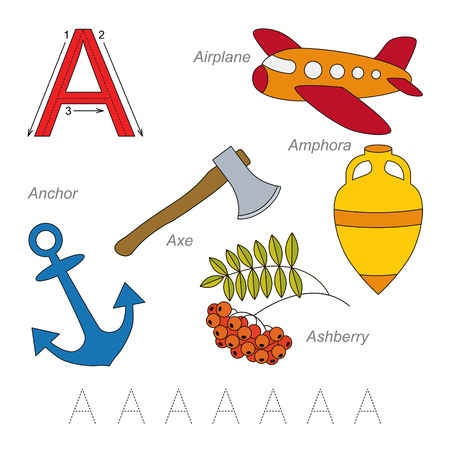 letter alphabet pictures: Tracing Worksheet for children. Full english alphabet from A to Z, pictures for letter A, the colorful version.
