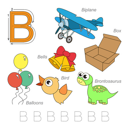 letter alphabet pictures: Tracing Worksheet for children. Full english alphabet from A to Z, pictures for letter B, the colorful version.