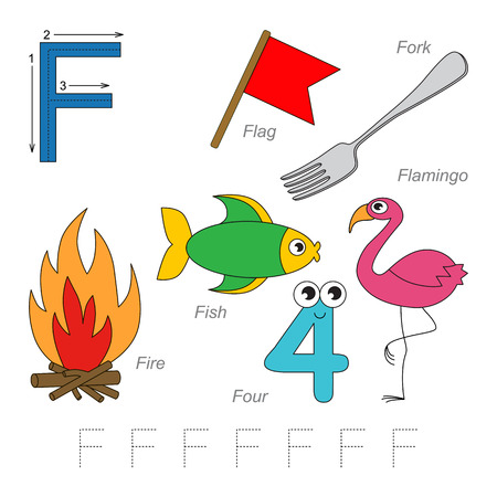 letter alphabet pictures: Tracing Worksheet for children. Full english alphabet from A to Z, pictures for letter F, the colorful version.