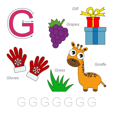 g giraffe: Tracing Worksheet for children. Full english alphabet from A to Z, pictures for letter G, the colorful version. Illustration