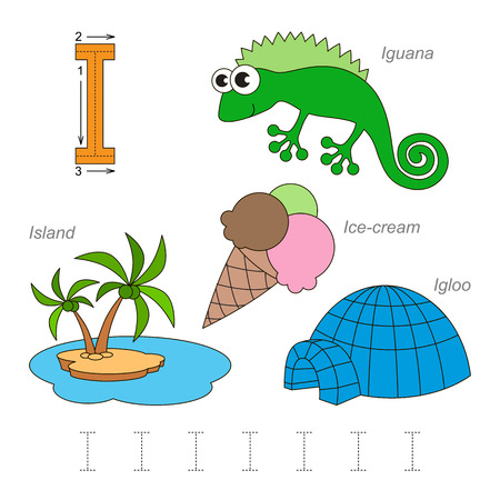 Tracing Worksheet for children. Full english alphabet from A to Z, pictures for letter I, the colorful version.