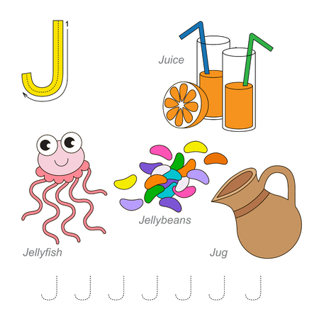 letter alphabet pictures: Tracing Worksheet for children. Full english alphabet from A to Z, pictures for letter J, the colorful version.