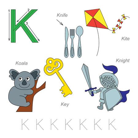 Tracing Feuille de calcul pour les enfants. Plein alphabet anglais de A à Z, des images pour la lettre K, la version colorée.