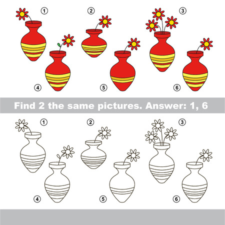 similar: The design difference.  visual game for children. Task and answer. Find two similar Vases