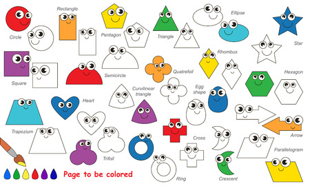 shapes cartoon: Set of geometric shapes to be colored. Coloring book for children. Visual game.