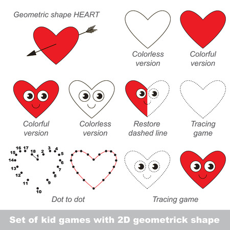 practice primary: Set of different games with the simple geometric shape. Tracing and half tracing, coloring book. Dot to dot game and connection by numbers. Task and answer. Games for shape Heart.