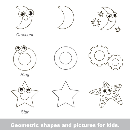 relevant: Simple geometric shapes for kids illustrated by relevant pictures. Illustration