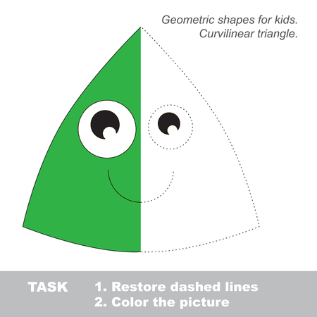 curvilinear: Curvilinear triangle in colorful to be traced. Restore dashed line and color the picture. Visual game for children. Worksheet to be colored.