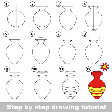 Drawing tutorial for children. How to draw the Vase with flower Ilustração