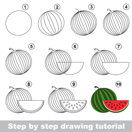 Drawing tutorial for children how to draw the funny watermelon stock vector 54825780