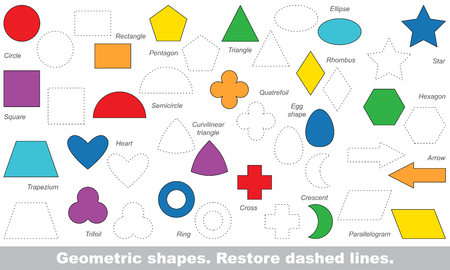 Set of simple shapes in vector to be traced. Restore dashed line and color the picture. Trace game for children. Ilustração