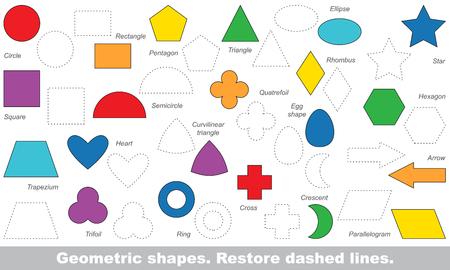 Set van eenvoudige vormen in vector worden getraceerd. Herstel gestippelde lijn en kleur het beeld. Trace spel voor kinderen.