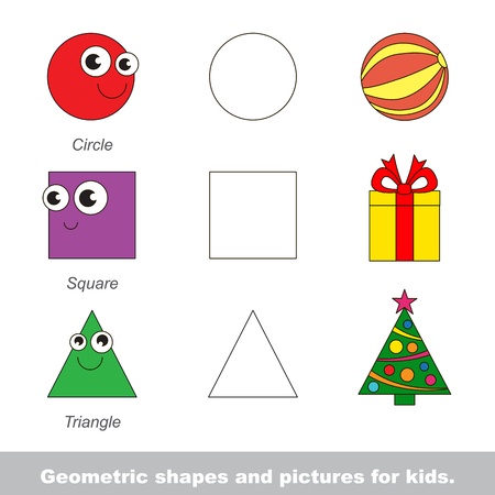 Simple geometric shapes for kids illustrated by relevant pictures. Stock Vector - 54825798