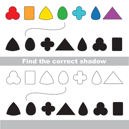 practice primary: Geometric shapes set with shadows to find the correct one. Compare and connect objects. and their true shadows. Logic game for children. Illustration