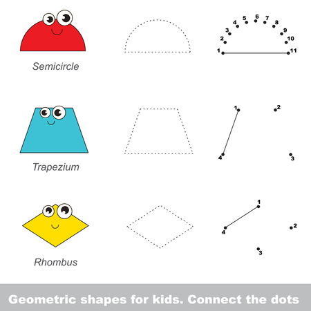 trapezium: Geometric shapes for kids. Game in vector to be traced by numbers. Vector visual game for children.