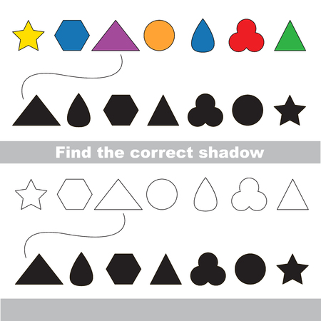 practice primary: Simple geometric shapes set with shadows to find the correct one. Compare and connect objects. and their true shadows. Logic game for children.