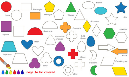 Set of simple geometric shapes to be colored. Coloring book for children. Visual game. Ilustração