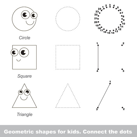 joining the dots: Circle and othe shapes in vector to be traced by numbers. Vector visual game for children.