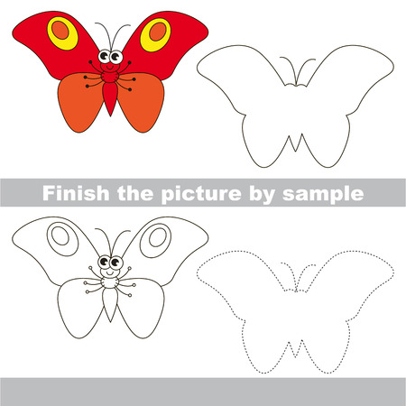 red butterfly: Drawing worksheet for children. Finish the picture and draw the cute Red butterfly