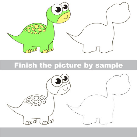 brontosaurus: Drawing worksheet for children. Finish the picture and draw the cute Brontosaurus