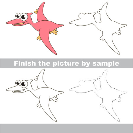 worksheet: Drawing worksheet for children. Finish the picture and draw the cute Pterodactyl Illustration