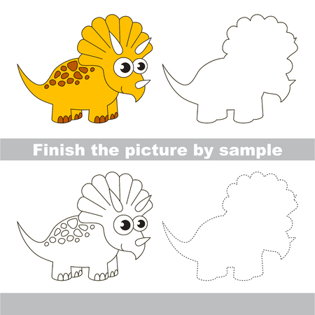 triceratops: Drawing worksheet for children. Finish the picture and draw the cute Triceratops