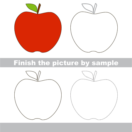 worksheet: Drawing worksheet for children. Finish the picture and draw the cute Apple Illustration
