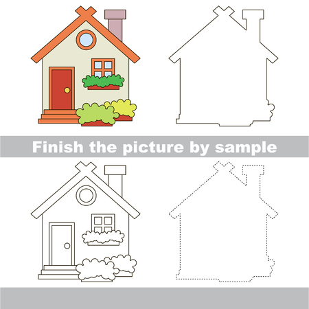 toy house: Drawing worksheet for children. Finish the picture and draw the cute Toy house Illustration