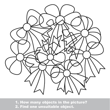 mishmash: Bow mishmash set in vector outlined to be colored.  Find all hidden objects on the picture. Visual game for children.