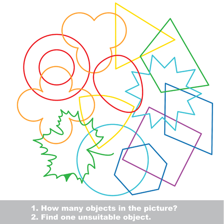 Geometric shapes mishmash colorful set in vector. Find all hidden objects on the picture. Find one unfit object. Visual game for children.