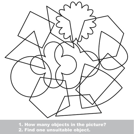 qua: Simple geometric shapes mishmash set in vector outlined to be colored.  Find all hidden objects on the picture. Visual game for children.